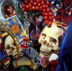 audrey flack, skull, grapes, photorealism