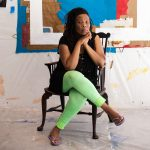 Tomashi Jackson in her studio at The Watermill Center, June 2021. Photo: Copyright Jessica Dalene, courtesy of The Watermill Center.